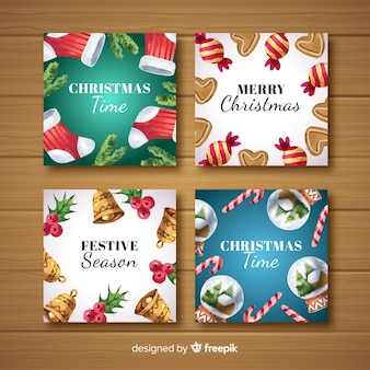 Colección tarjetas navidad pintadas a mano