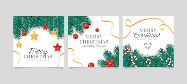 Colección de tarjetas de navidad realistas