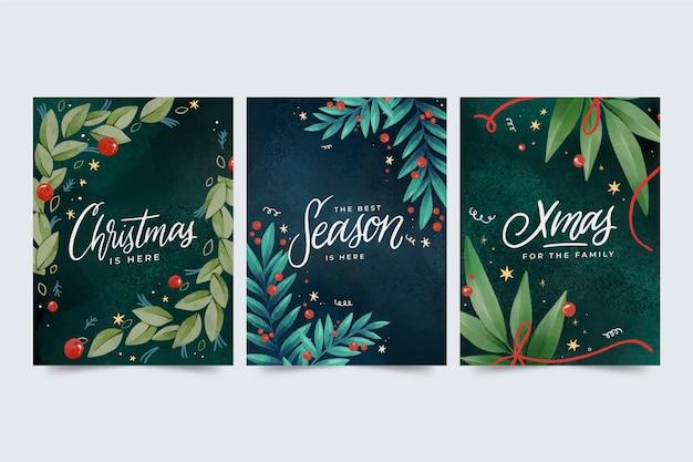 Colección de tarjetas navideñas en acuarela
