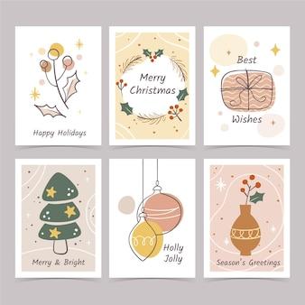 Colección tarjetas navideñas dibujadas a mano vector gratuito