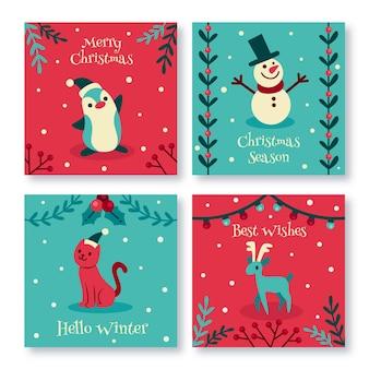 Colección tarjetas navideñas dibujadas a mano