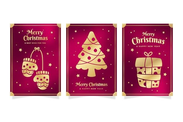 Colección tarjetas navideñas doradas