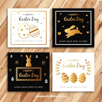 Colección de tarjetas negras y doradas del día de pascua