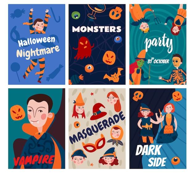 Colección de tarjetas de niños de halloween