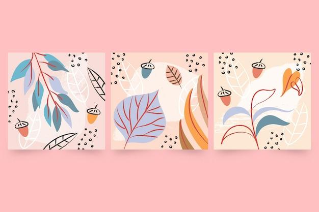 Colección de tarjetas otoñales de acuarela