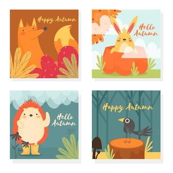 Colección de tarjetas otoñales con animales