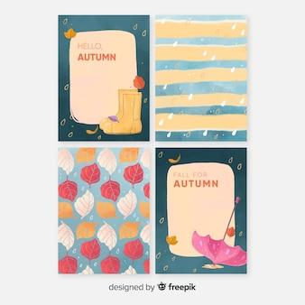 Colección de tarjetas de otoño de acuarela.
