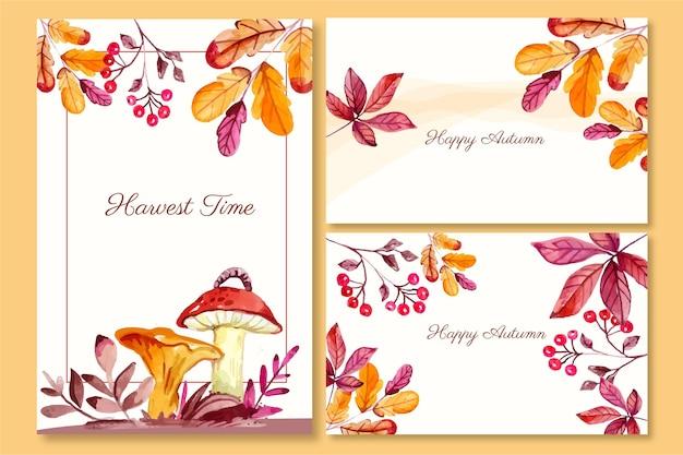 Colección de tarjetas de otoño en acuarela
