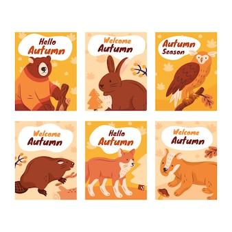 Colección de tarjetas de otoño dibujadas a mano