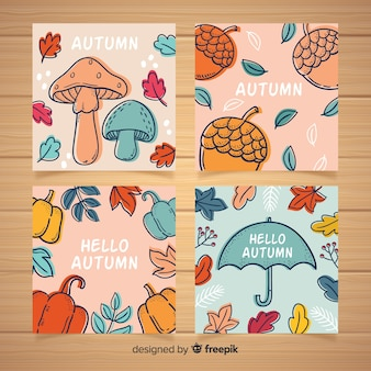Colección de tarjetas de otoño dibujados a mano
