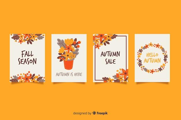 Colección de tarjetas otoño dibujados a mano