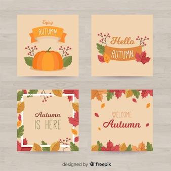 Colección de tarjetas de otoño de diseño plano.