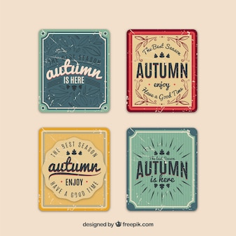 Colección de tarjetas de otoño en estilo vintage