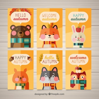 Colección de tarjetas de otoño con lindos animales