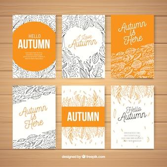 Colección de tarjetas de otoño modernas
