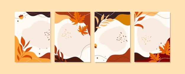Colección de tarjetas de otoño planas
