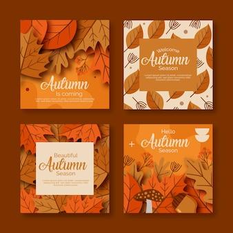 Colección de tarjetas de otoño vintage