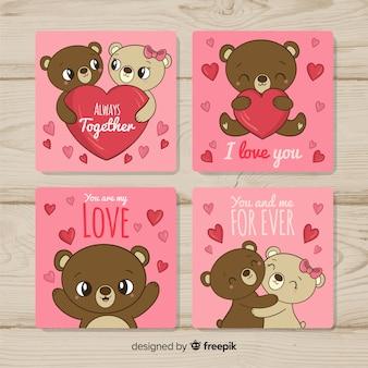 Colección tarjetas pareja de osos de peluche san valentín