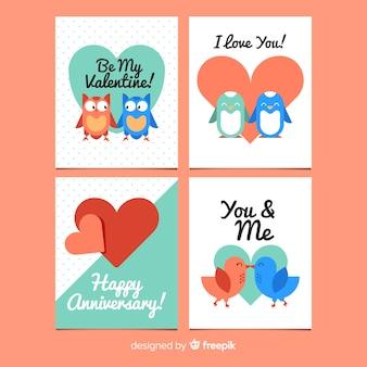 Colección tarjetas de parejas de animales san valentín