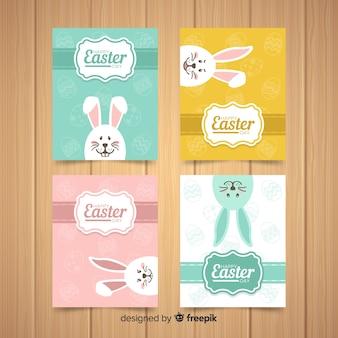 Colección tarjetas pascua conejo asomándose