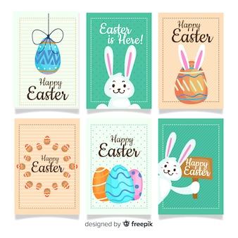 Colección tarjetas pascua dibujadas a mano