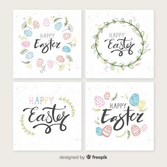 Colección de tarjetas de pascua en diseño plano