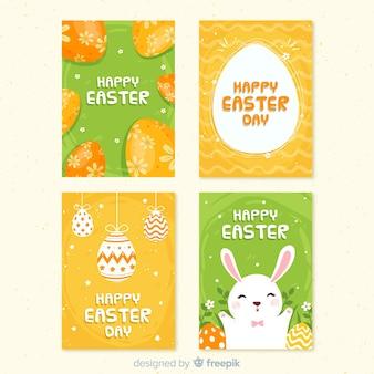 Colección tarjetas pascua huevos decorados