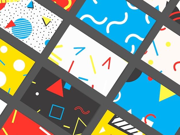 Colección de tarjetas de patrón de memphis