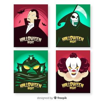 Colección de tarjetas de personajes de halloween dibujados a mano