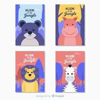 Colección tarjetas planas animales salvajes
