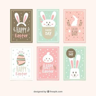 Colección de tarjetas planas del día de pascua
