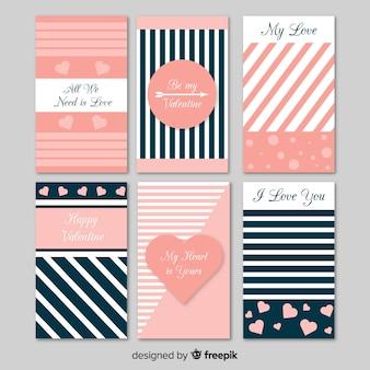 Colección tarjetas planas día de san valentín a rayas