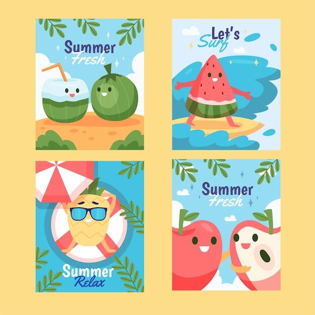 Colección de tarjetas planas orgánicas de verano