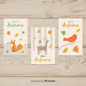 Colección de tarjetas planas de otoño.