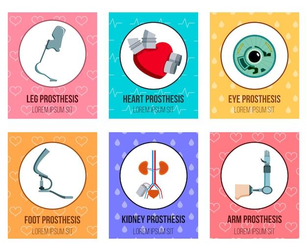 Colección de tarjetas planas de prótesis médicas ortopédicas con implantes oculares de riñón artificial y extremidades protésicas aisladas