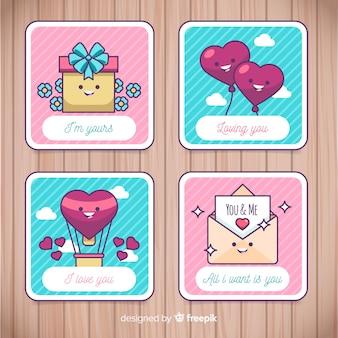 Colección tarjetas planas san valentín
