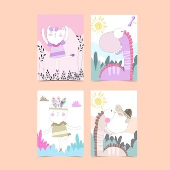 Colección de tarjetas de plantilla para baby shower