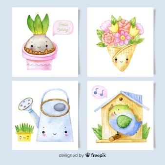 Colección de tarjetas de primavera de acuarela