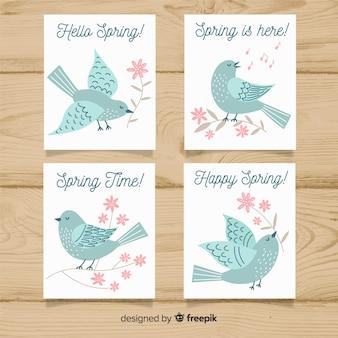 Colección tarjetas primavera pájaro dibujado a mano