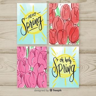Colección tarjetas primavera tulipanes acuarela