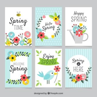 Colección de tarjetas de primavera