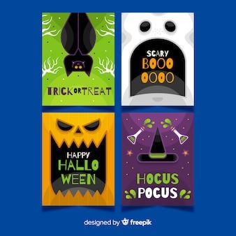 Colección de tarjetas de primer plano de criaturas de halloween