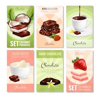 Colección de tarjetas de productos de cacao