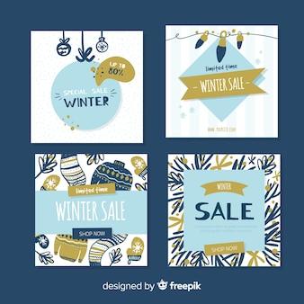 Colección tarjetas rebajas invierno dibujadas a mano