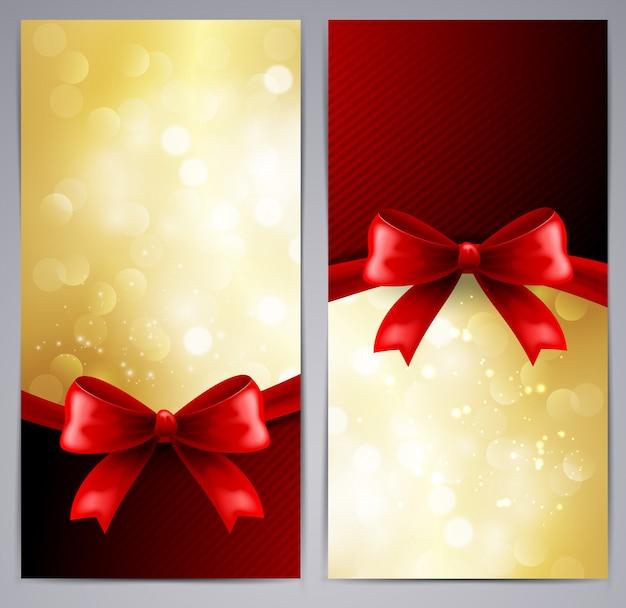 Colección de tarjetas de regalo con cinta