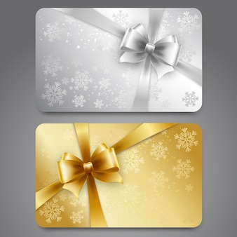 Colección de tarjetas de regalo con copos de nieve y cintas.