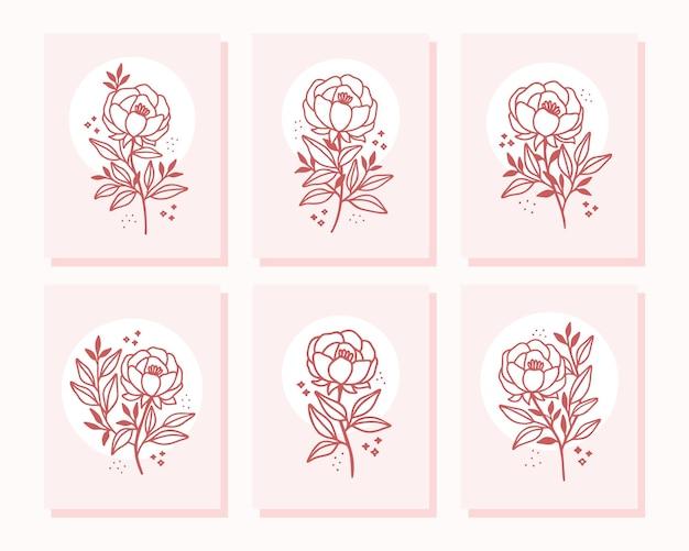 Colección de tarjetas de san valentín dibujadas a mano con elementos de flores rosas y peonías