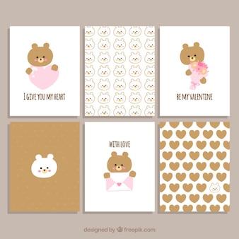 Colección de tarjetas de san valentín de osos