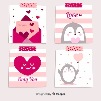 Colección tarjetas san valentín pingüino dibujado a mano