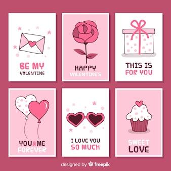 Colección tarjetas simples san valentín